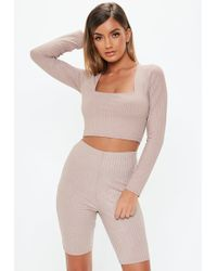 Missguided - Petite Pink Glitter Ribbed Cycling Shorts - Lyst