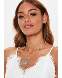 Missguided - Silver Statement Jewelled Pendant Necklace - Lyst