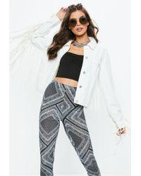 Missguided - White Faux Leather Fringe Back Denim Jacket - Lyst