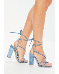 Missguided - Blue Multi Strap Block Denim Heels - Lyst
