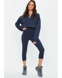 Missguided - Tall Navy Cropped Leggings - Lyst