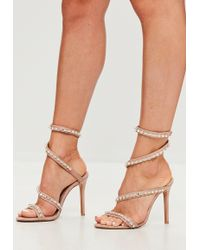 4f7b180d14d Lyst - Missguided Nude Jewel Drop Ankle Heeled Sandals in Natural
