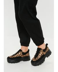 Missguided - Black Leopard Super Chunky Sole Trainers - Lyst