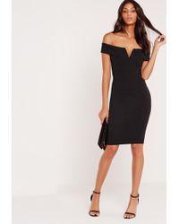 Missguided - V Front Bardot Midi Dress Black - Lyst
