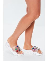 Missguided - White Extreme Jewel Embellished Chunky Sliders - Lyst