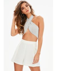 Missguided - Silver Cross Front Bralet - Lyst