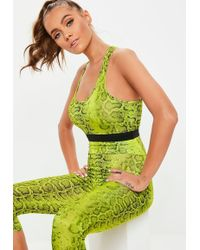c7d872ff2c2cf Missguided - Active Lime Green Snake Print Racer Back Sports Bra - Lyst