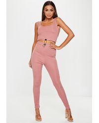 Missguided - Rose Pink Ribbed Toggle Leggings - Lyst