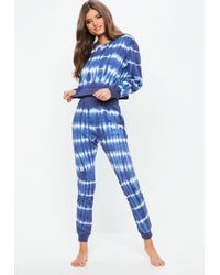 Missguided - Blue Tie Dye Crop Lounge Set - Lyst