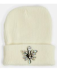 Missguided - Cream Gem Embellished Beanie - Lyst