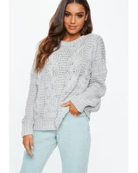 a82331ba9d3dc8 Lyst - Missguided Grey Chunky Knitted Boyfriend Sweater in Gray