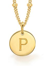 Missoma - Gold P Initial Necklace - Lyst