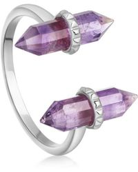 Missoma - Silver Amethyst Double Wand Ring - Lyst