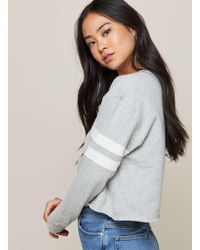 Miss Selfridge | Grey Striped Sleeve Sweatshirt | Lyst