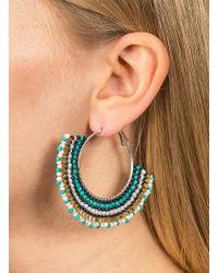 Miss Selfridge - Blue Beaded Flat Hoop Earrings - Lyst