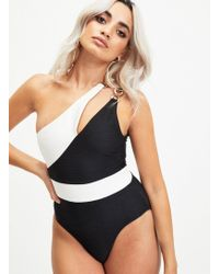 ec6767ef5b Lyst - Miss Selfridge South Beach Black Bardot Swimsuit With Tassels ...