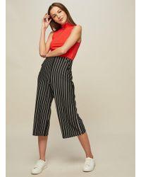 Miss Selfridge - Petite Black Striped Button Culotte Trousers - Lyst