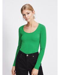 Miss Selfridge - Green Long Sleeve Scoop Neck Body - Lyst