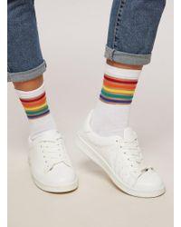 Miss Selfridge - White Rainbow Striped Sheer Socks - Lyst