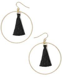 Miss Selfridge - Black Tassel Hoop Earrings - Lyst