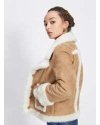Miss Selfridge - Petite Tan Shearling Jacket - Lyst