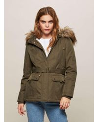 Missguided Fur Hood Short Parka Coat Khaki/hot Pink in Green | Lyst