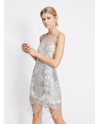 Miss Selfridge - Silver Fringe Embellished Yoke Mini Dress - Lyst