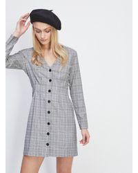 Miss Selfridge - Grey Check Pintuck Button Mini Dress - Lyst