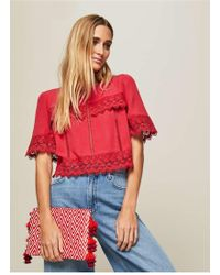 Miss Selfridge - Red Woven Tassel Clutch Bag - Lyst