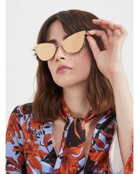 00165f4375 Miss Selfridge Quay Australia If Only Navy Round Sunglasses in Blue ...
