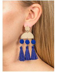 Miss Selfridge - Geometric Pom Tassel Earrings - Lyst