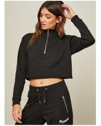 Miss Selfridge - Pineapple Black Cropped Funnel Neck Sweatshirt - Lyst