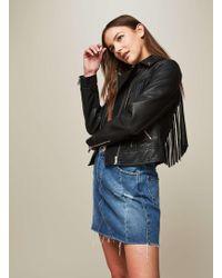 Miss Selfridge   Black Fringe Pu Biker Jacket   Lyst