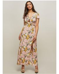 Miss Selfridge - Pink Floral Cut Out Maxi Dress - Lyst