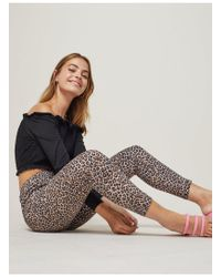 Miss Selfridge - Petite Lizzie High Waist Tan Animal Print Jeans - Lyst