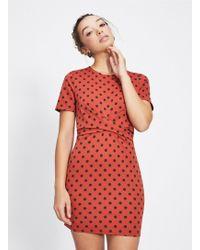 Miss Selfridge - Petite Rust Polka Dot Bodycon Dress - Lyst