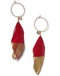 Miss Selfridge - Red Feather Earrings - Lyst