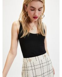 effdccb29 TOPSHOP Cream Lace Calf Skater Skirt in Natural - Lyst