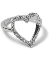 Miss Selfridge - Rhinestone Open Heart Ring - Lyst
