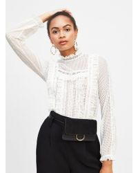 Miss Selfridge - White Long Sleeve Lace Victoriana Top - Lyst