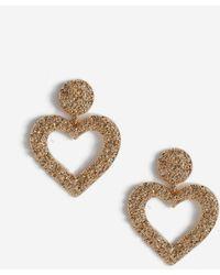 Miss Selfridge Gold Heart Earrings - Metallic