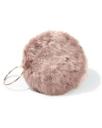 Miss Selfridge - Mink Faux Fur Circle Clutch - Lyst