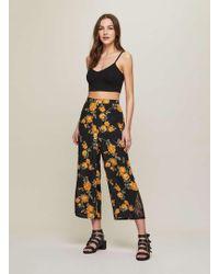 Miss Selfridge   Lace Hem Cropped Wide Leg Trousers   Lyst