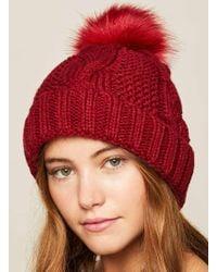 Miss Selfridge - Burgundy Chunky Beanie Hat - Lyst