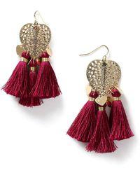 Miss Selfridge | Heart Fringe Earrings | Lyst
