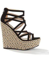 f41c0bdf4bbd Lyst - Miss Selfridge Wallice Gold Twist Knot Wedge Sandals in Metallic