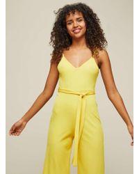 Miss Selfridge - Yellow Ribbed Culotte Jumpsuit - Lyst