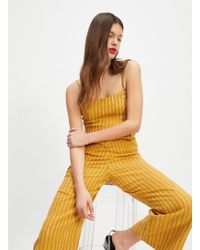 1b9168c76a5 Lyst - Miss Selfridge Petite Ochre Ribbed Tie Front Jumpsuit in Yellow