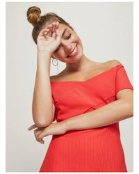 Miss Selfridge - Petite Red Ribbed Bardot Dress - Lyst