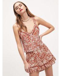Miss Selfridge Rust Floral Print Flippy Shorts - Multicolour